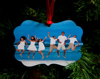 Holiday Ornament with Photos on each side, fancy shaped metal