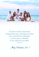 Teal and light blue are favorite choices for font colors on Holiday cards from the beach.
