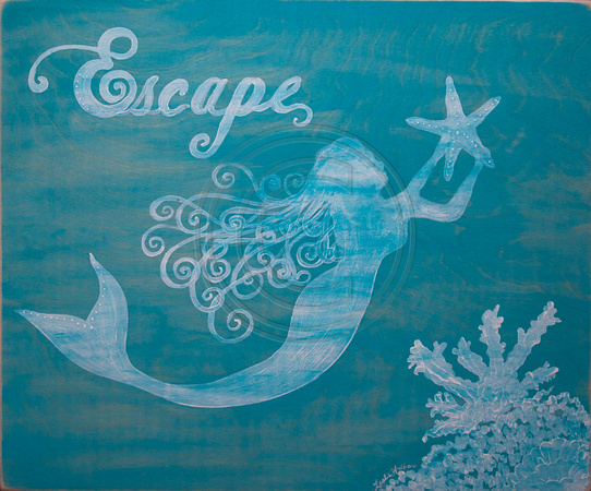 Escape-mermaid-on-wood