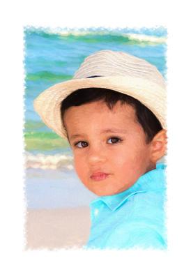 Beach Art, Boy with a hat painted beach portrait.