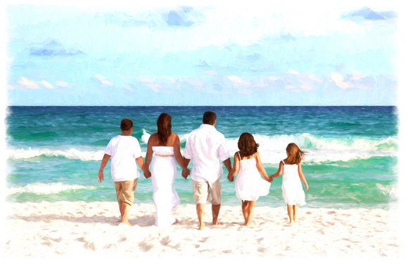 Family Walking on the beach Pose