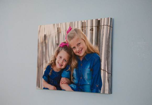Canvas Gallery Wrap on Blue Wall